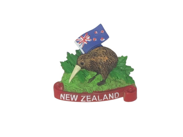 New Zealand Flag and Kiwi style Resin Magnet