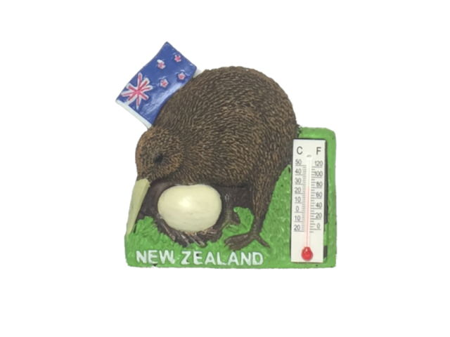 New Zealand Flag and Kiwi style Resin Magnet with thermometer