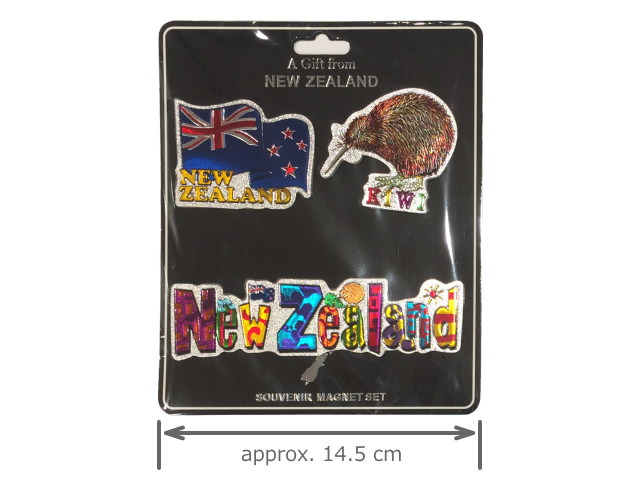 3 PACK, FOIL MAGNET (KIWI / FLAG / NZ)