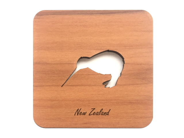 WOODEN COASTERS SET OF 2 RIMU KIWI