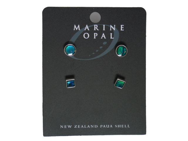 MARINE OPAL EARRINGS BLUE ROUND BLUE SQUARE