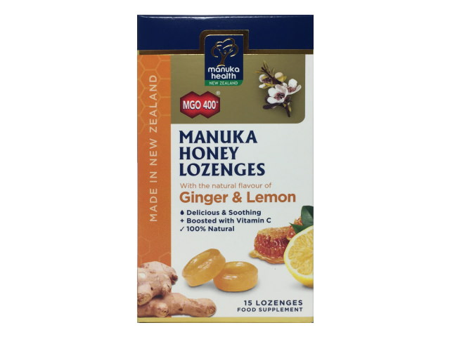 MGO 400+ Manuka Honey Lemon and Ginger Lozenges