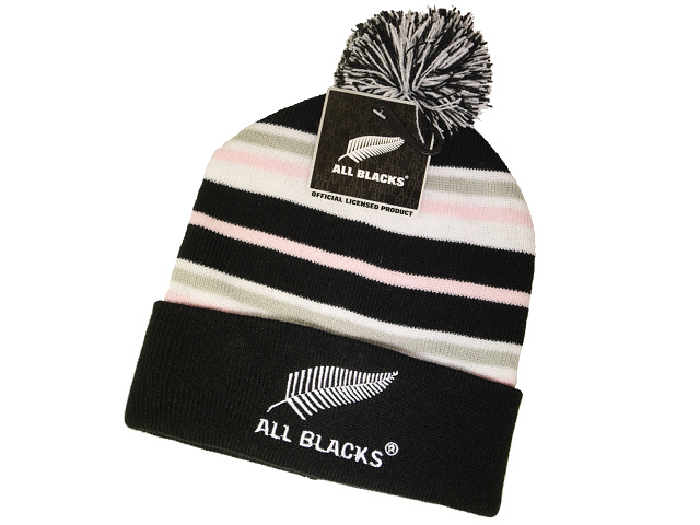 All Blacks Pink Stripe Pom Pom Beanie for Child