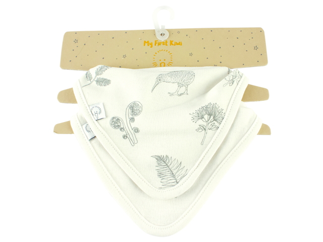 BABY BIB SET OF 2 SKETCH KIWI TRIANGLE