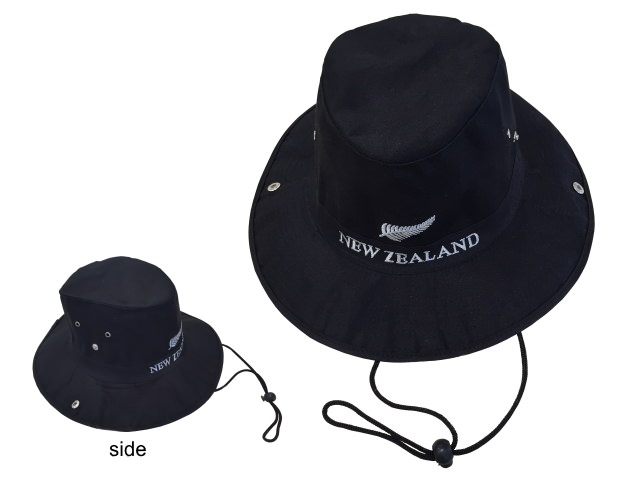 HAT - FULL BRIM NZ FERN BLACK