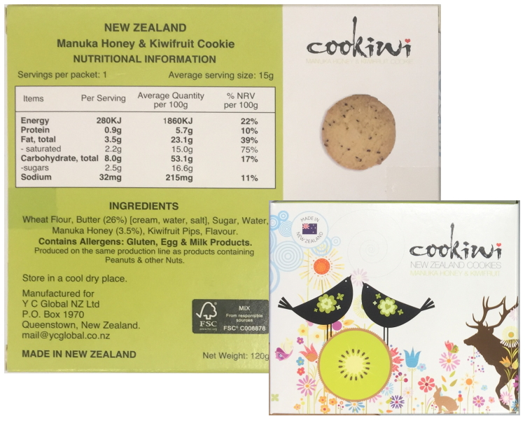 New Zealand Manuka Honey & Kiwifruit Cookie (120g)