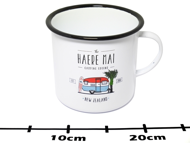 ENAMEL MUG LARGE HAERE MAI CAMPING GROUND